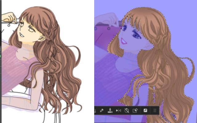 イラストメイキング髪